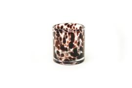 Housevitamin kandelaar/vaasje white cheetah 10x11 cm