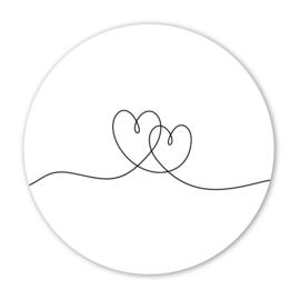Wooncirkel hartjes  lijntekening  - 30cm