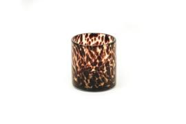 Housevitamin kandelaar/vaasje brown cheetah 10x11 cm