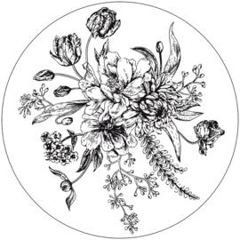 Wooncirkel bloemen wit - 40 cm