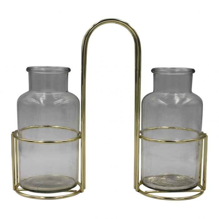 Housevitamin Twin Vases in Metal Holder goud