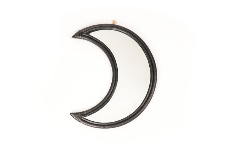 Housevitamin moon mirror rattan zwart