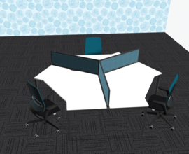 1,5 meter bureau, werkplek voor 3 personen, Narbutas