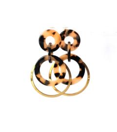 Oorbellen leopard print creme/black en ring oud goud