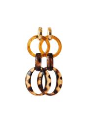 Oorbellen amber/leopard print met creooltje 24K goldplated