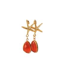 Oorbellen met oorsteker zeester en crystal oranje