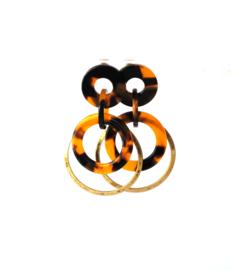 Oorbellen leopard print en ring oud goud