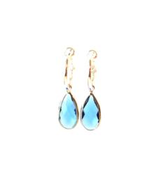 Oorbellen creool verzilverd en crystal hanger blauw