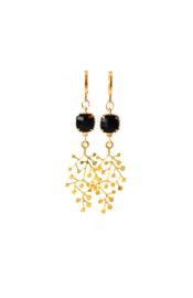 Oorbellen met crystal zwart en hanger goldplated
