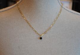 Ketting stainless steel met hanger onyx of andere edelsteen