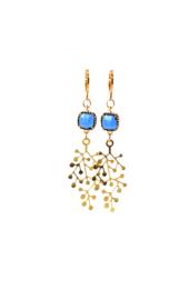 Oorbellen met crystal blauw en hanger goldplated