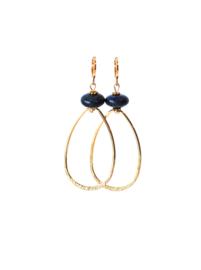Oorbellen met lapis lazuli en hanger 24K goldplated