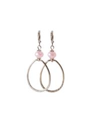 Oorbellen met crystal roze en hanger verzilverd