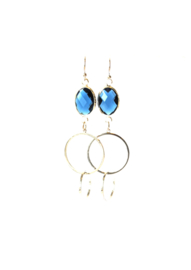 Oorbellen met crystal blauw en ringen zilver