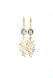 Oorbellen met crystal bruin en hanger goldplated