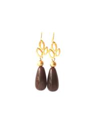 Oorbellen met oorhanger 24K goldplated en crystalglas paars/grijs