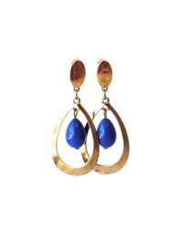 Oorbellen met glasparel koningsblauw