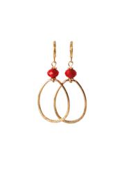 oorbellen met crystal rood en hanger klein 24K goldplated