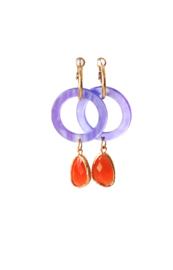 Creool met ring resin paars en crystal oranje