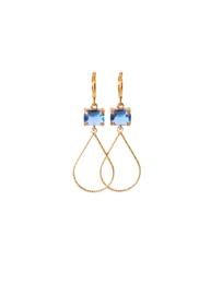 Oorbellen met crystal blauw en hanger 24K goldplated