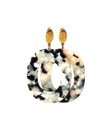 Oorbellen met hanger resin zwart/wit en oorsteker oud goud