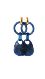 Statement earrings blauw met creooltje 24K goldplated