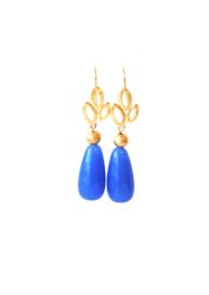 Oorbellen met oorhanger 24K goldplated en crystalglas blauw