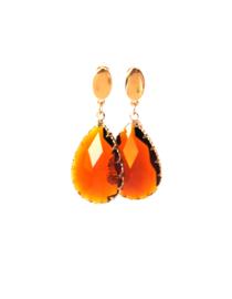 Oorbellen facetgeslepen glasdruppel bruin