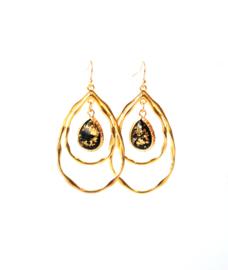 Oorbellen met hanger goldplated en crystal zwart/goud