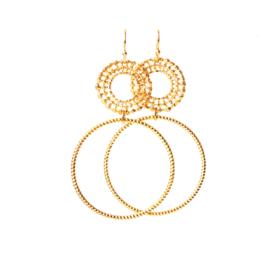 Oorbellen 2 ringen goud of zilver