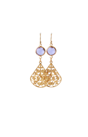 Oorbellen met crystal paars en hanger filigrain goldplated