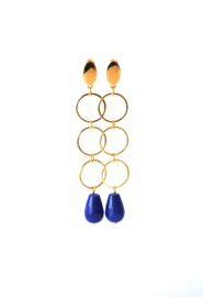 Oorbellen 3 ringen goldplated of rhodium (zilverkleur) en agaat blauw
