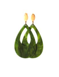 Oorbellen met hanger resin groen