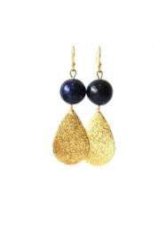 Oorbellen met lapis lazuli rond