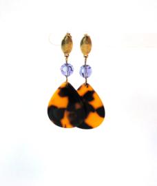 Oorbellen met swarovski crystal paars en hanger leopard print