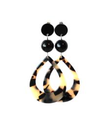 Oorbellen met hanger druppel leopard print en onyx