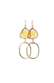 Oorbellen met crystal geel en hanger goldplated