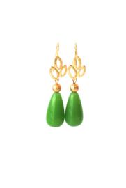 Oorbellen met oorhanger 24K goldplated en crystalglas groen