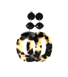 Oorbellen met hanger leopard print  en onyx