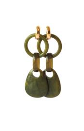 Statement earrings olijfgroen met creooltje 24K goldplated