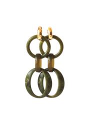 Oorbellen olijfgroen met creooltje 24K goldplated