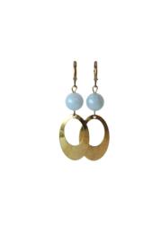 Oorbellen met aquamarijn en hanger oud goud
