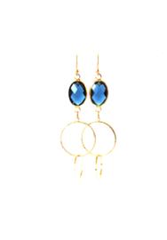 Oorbellen met crystal blauw en ringen goud
