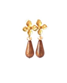 Oorbellen met resin druppel beige en swarovski crystal