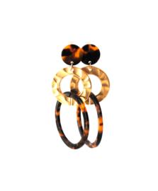 Oorbellen leopard print en ring goud