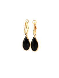 Oorbellen creool goud en crystal hanger zwart