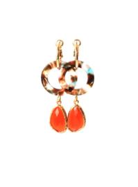 Creool goldplated met resin ring en hanger crystal oranje