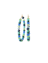 Creool met crystals blauw/groen