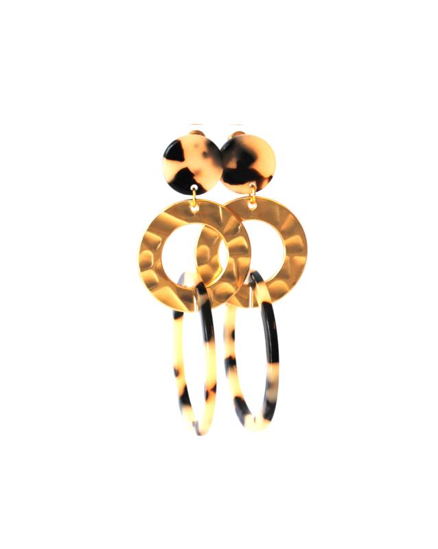 Oorbellen leopard print creme/black en ring goud