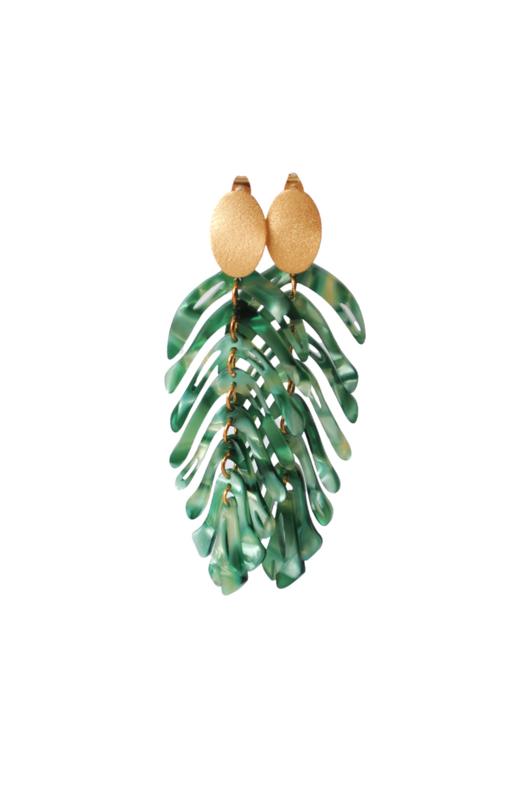 Oorbellen green leaves